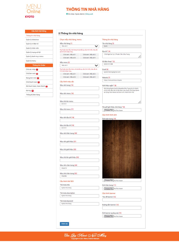 Thông tin trang quản trị nhà hàng