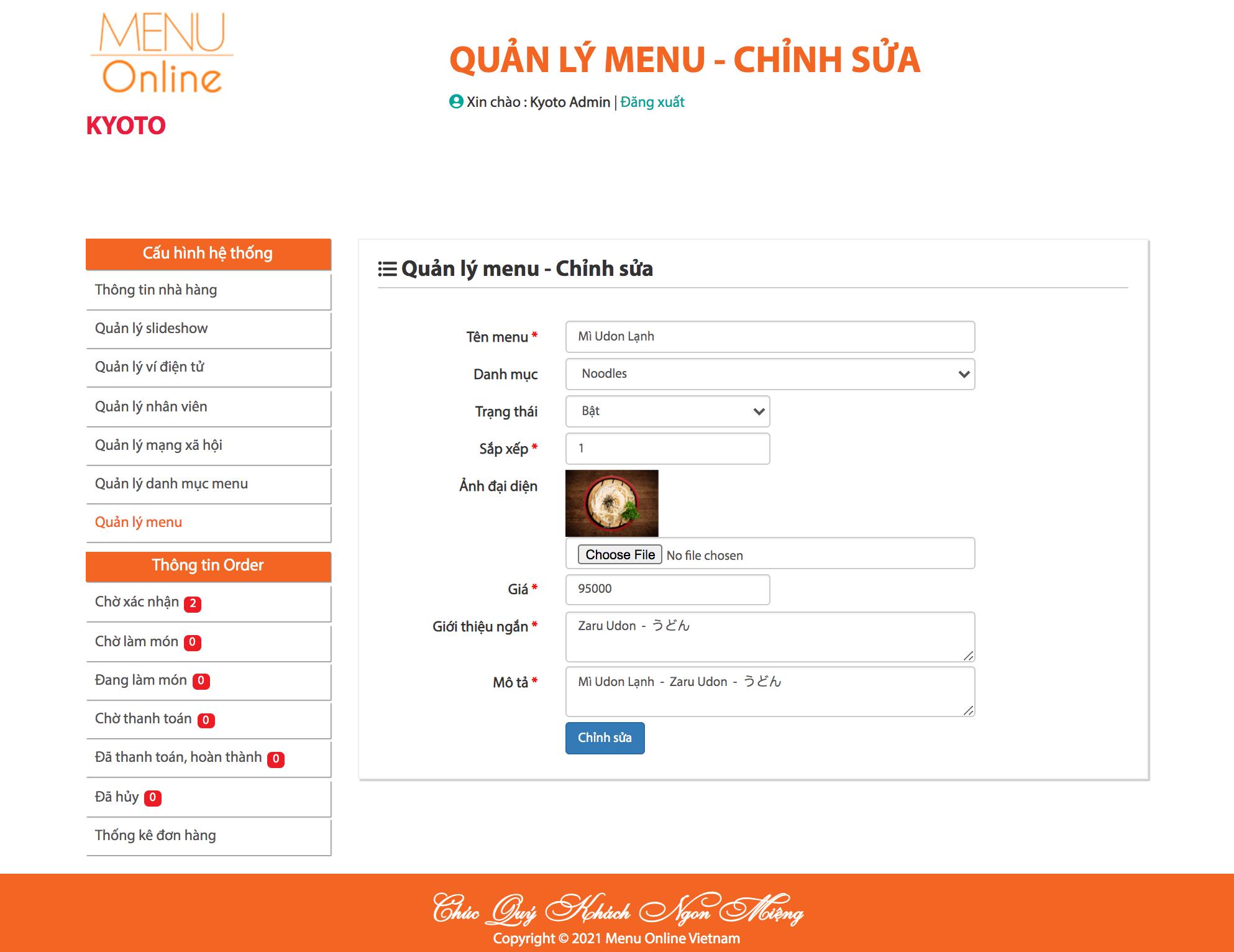 Trang quản lý menu online