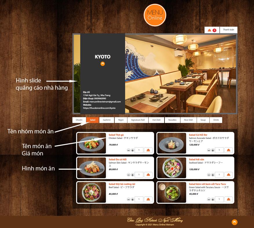 Chi tiết giao diện menu